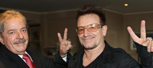 Lula com o líder da banda U2,  o cantor irlandês Paul David Hewson, mais conhecido por seu nome artístico Bono