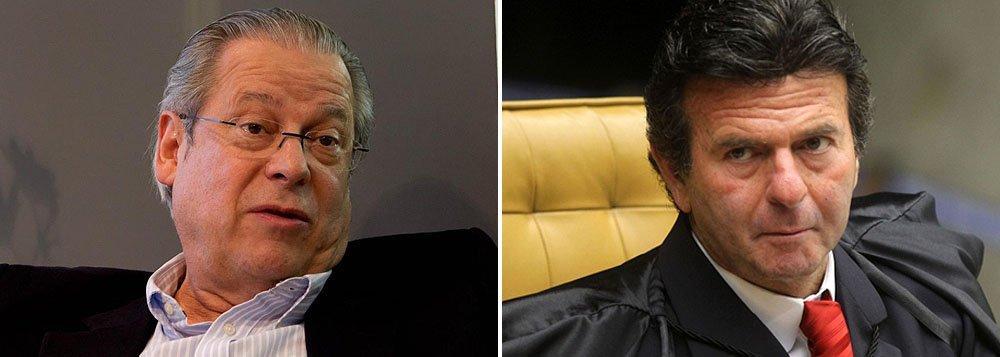 O ex-ministro chefe da Casa Civil do governo Lula, José Dirceu, réu no julgamento do mensalão e o ministro Luiz Fux, relator dos embargos infringentes na fase final do julgamento, prevista para acontecer em 2014
