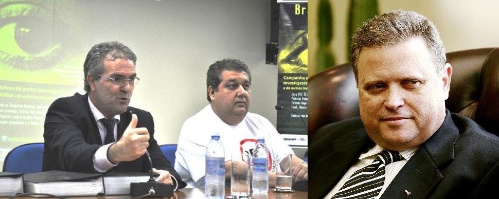 Mauro Viveiros, corregedor geral, Paulo Prado, procurador geral de Justiça e o ex-governador e atual senador Blairo Maggi (PR-MT)
