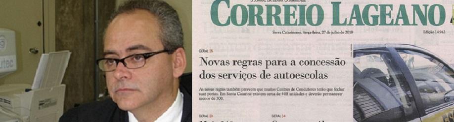 O desembargador Jorge Martins, do Tribunal de Justiça de Santa Catarina e a capa do Correio Lageano, jornal da cidade de Lages