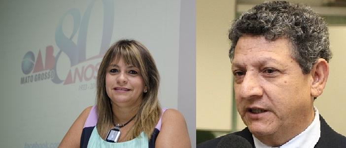 A advogada Cláudia Aquino, vice-presidente da OAB-MT, na gestão de Maurício Aude e Dirceu dos Santos, um dos mais discretos desembargadores do Tribunal de Justiça de Mato Grosso