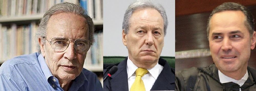 Jânio de Freitas, decano do jornalismo político brasileiro e os ministros do STF, Ricardo Lewandowski e Luis Roberto Barroso