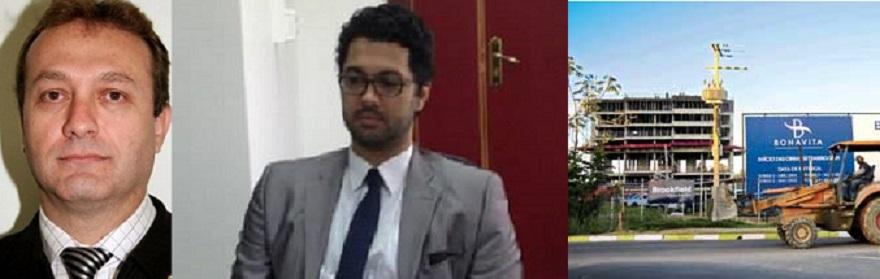 O juiz Luis Aparecido Bertolucci, o advogado Bruno Boaventura e a muito questionada obra do Residencial Bonavita, nas proximidades do Parque Massairo Okamura, em Cuiabá