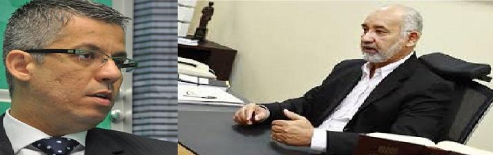 O presidente da OAB, advogado Maurício Aude, e o presidente do Tribunal Regional Eleitoral de Mato Grosso, desembargador Juvenal Pereira.