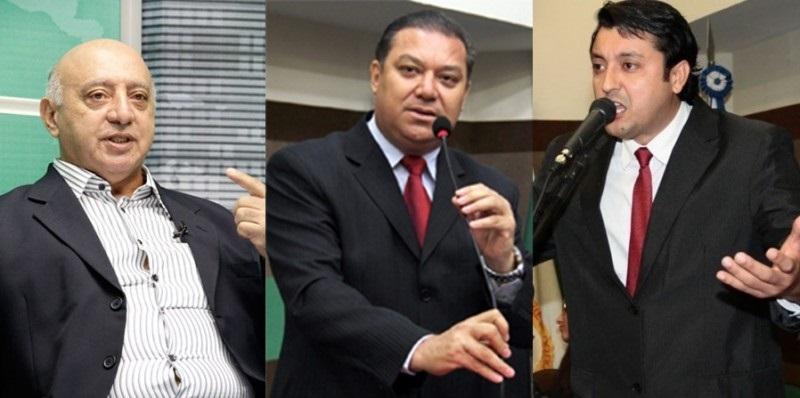 Vereadores Ricardo Saad (PSDB), Toninho de Souza (PSD) e Allan Kardec (PT) que formam a CPI dos  Maquinários na Câmara de Cuiabá