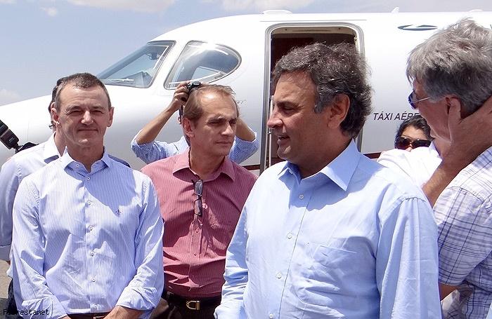 Dilceu Rossatto, prefeito pelo PR, e o ex-prefeito de Cuiabá, Wilson Santos, recepcionaram Aécio Neves em sua visita ao município que é o maior produtor de soja do Brasil