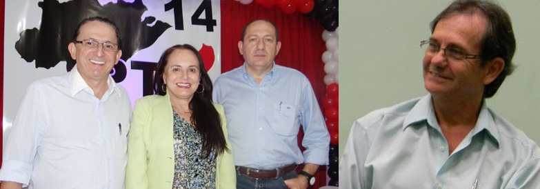 A ex-petista professora Serys Slhessarenko recepcionada no PTB por Chico Galindo e Luiz Antônio Pagot; à direita, o jornalista Ademar Adams