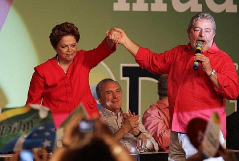 A presidente Dilma e o presidente Lula, lideranças maiores do Partido dos Trabalhadores