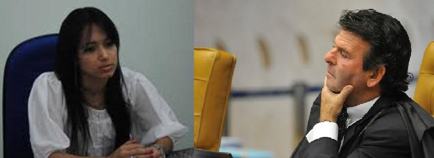 Glenda Moreira Borges, juiza em Primavera do Leste e Luiz Fux, ministro no Supremo Tribunal Federal