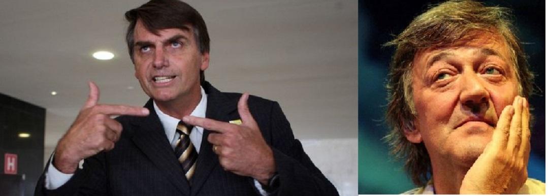 """Stephen Fry veio ao Brasil especialmente para ver """"como funciona"""" o deputado Jair Bolsonaro, representante da extrema direita no Congresso Nacional"""
