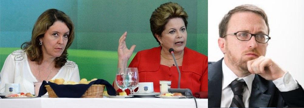 A jornalista Helena Chagas, a economista Dilma Roussef, presidente da República e o jornalista Thomas Traumann