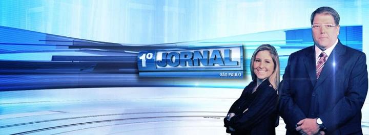 Luciano Faccioli e Patricia Maldonado apresentam o Primeiro Jornal, da TV Bandeirantes.