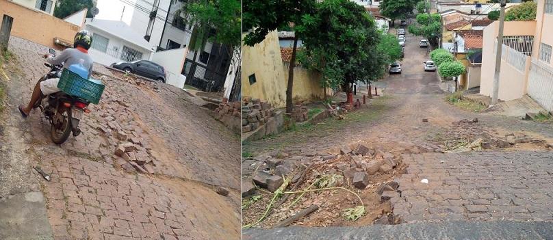 Rua Nossa Senhora de Santana, onde se localiza o bar de dona Ítala Griggi, reclama pela atenção e pelo cuidado da Prefeitura de Cuiabá