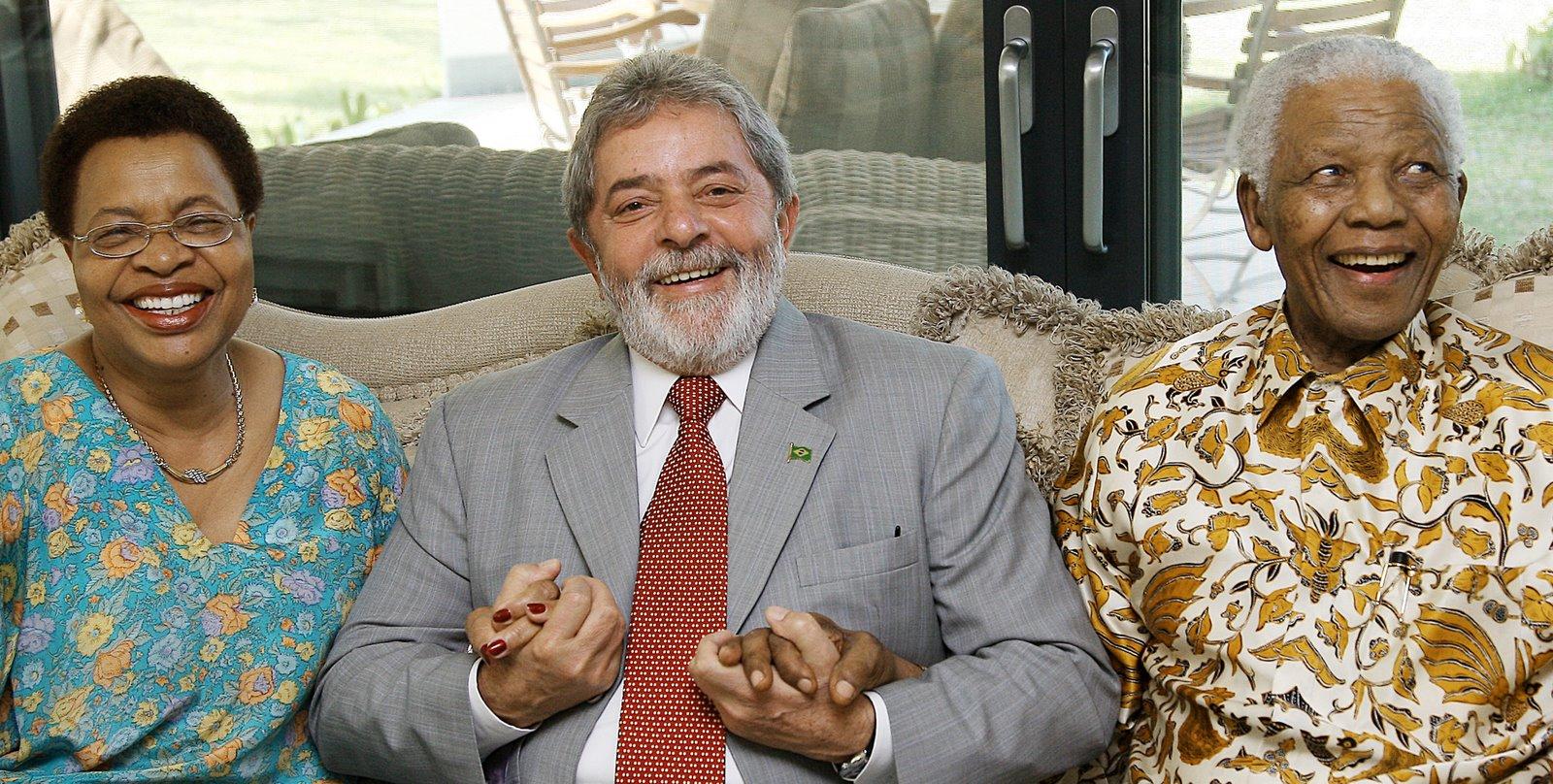 Lula com o líder sul-africano Nelson Madela