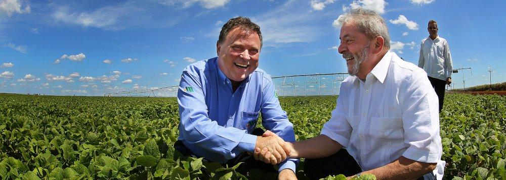 O presidente Lula(PT) com o ex-governador de Mato Grosso e atual senador Blairo Maggi (PR)