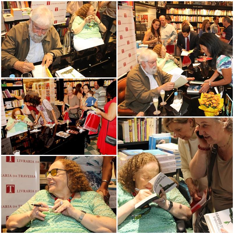 """Rose Marie Muraro e Leonardo Boff em sessão de autógrafos no lançamento do Livro """"Reinventando o Capital/Dinheiro"""", que lançaram juntos"""