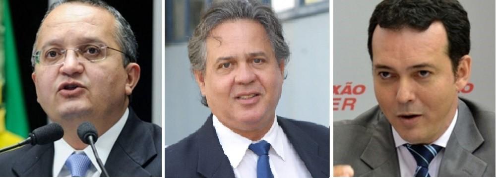 Pedro Taques, candidato a governador da direita mato-grossense, seu marqueteiro Antero Paes de Barros, e o candidato Lúdio Cabral, da coligação capitaneada pelo PT