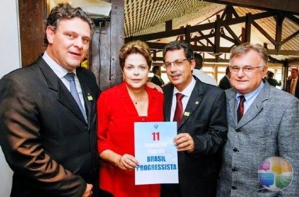 A presidente Dilma com a cúpula do PP em Mato Grosso: Carlos Fávaro (vice de Pedro Taques), Ezequiel Fonseca e Eraí Maggi