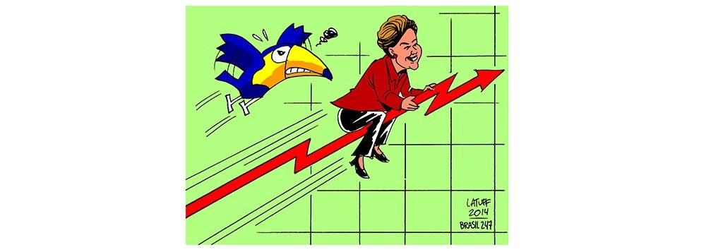 Para desespero do Partido da Imprensa Golpista, a candidata Dilma consegue vantagem numérica nesta reta final da campanha, de acordo com o que apontam pesquisas encomendadas pela própria emissora líder do PIG, a Rede Globo