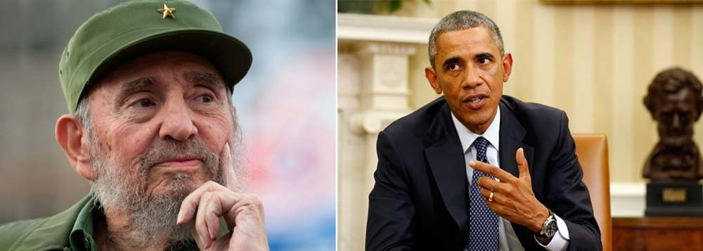 Fidel Castro, grande líder da nação cubana, e Barack Obama, presidente dos Estados Unidos