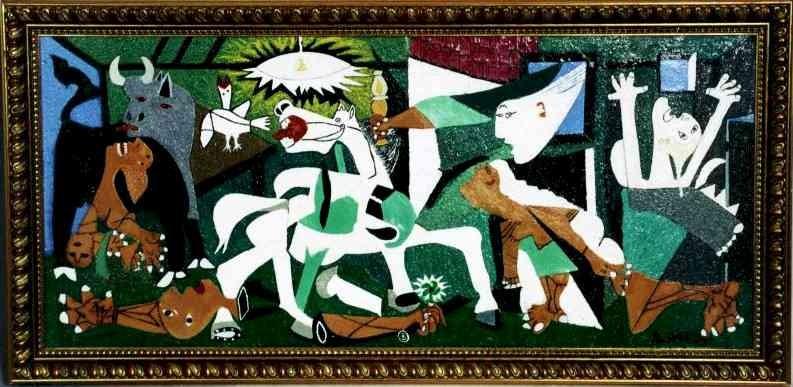"""Em """"Guernica"""", o pintor Pablo Picasso retratou o horror da guerra. """"Guernica"""", trágica e clássica obra, nasceu das impressões causadas no artista Picasso pela visão de fotos retratando as consequências do intenso bombardeio sofrido pela cidade de Guernica, anteriormente capital basca, durante a Guerra Civil Espanhola, em 26 de abril de 1937. Este painel é grandioso, em todos os sentidos, tanto na catástrofe bélica que reproduz, quanto no seu tamanho, pois ele mede 350 por 782 cm. Elaborado em tela pintada a óleo, é um símbolo doloroso do terror que pode ser produzido pelas guerras. Faltaram-nos, até aqui, em Mato Grosso, Brasil, artistas que tematizassem o horror cotidiano que marca o destino de quem penetra, cotidianamente, nos umbrais do Pronto Socorro de Cuiabá."""