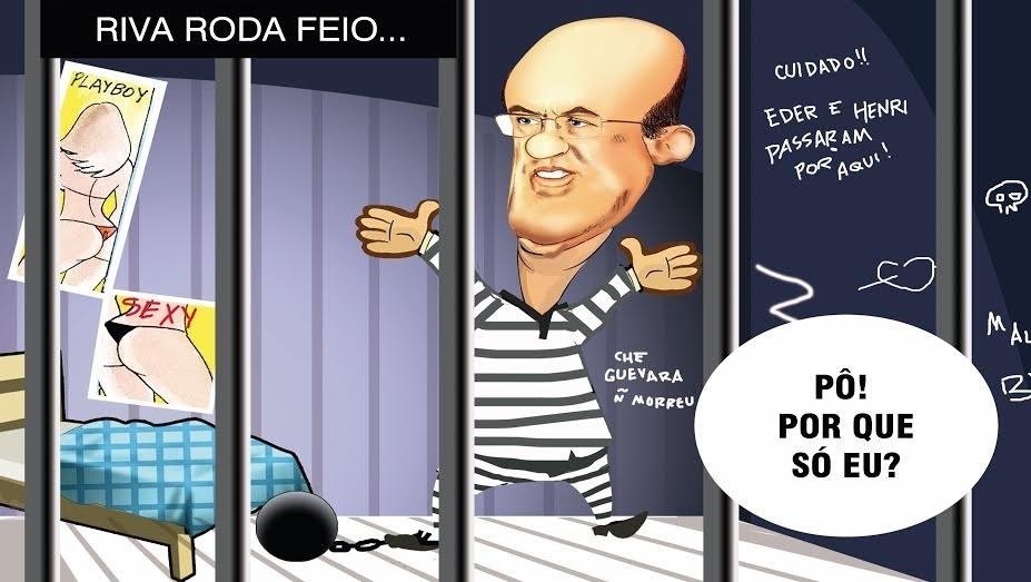O cartunista Generino flagrou Riva na prisão