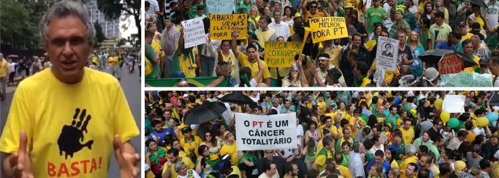 Ronaldo Caiado, calejada liderança da UDR, é uma das lideranças das manifestações que levam o golpismo para as ruas, repetindo a tática adotada pela direita, na Venezuela e na Argentina, para tentar isolar os políticos e partidos  de esquerda