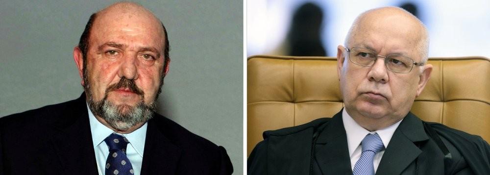 Ricardo Pessoa, empresário da UTC Engenharia, defendido pelo advogado Alberto Toron, e o ministro Teori Zavascki, do Supremo Tribunal Federal
