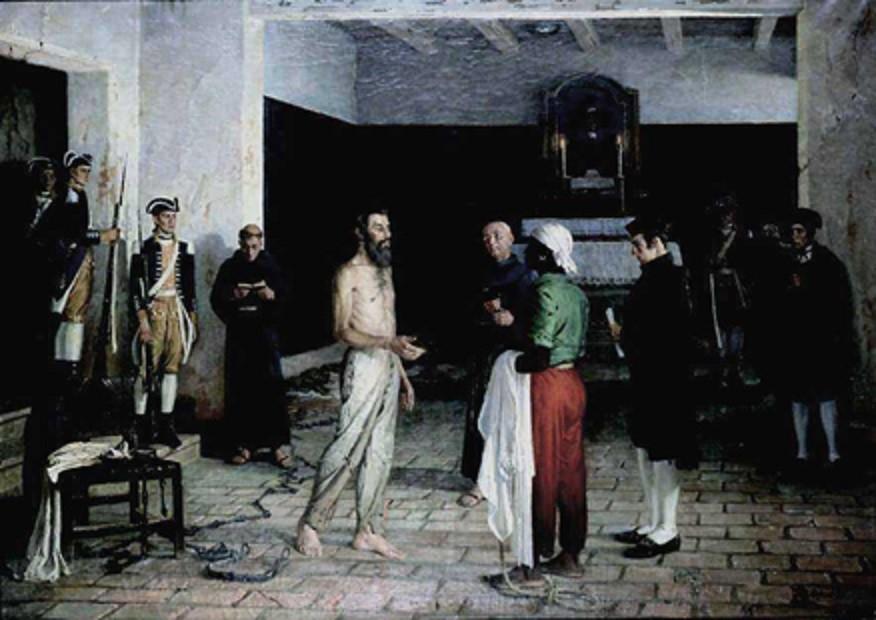 Tiradentes ante o carrasco, 1941 Rafael Falco (Oran, 1885- São Paulo 1967) óleo sobre tela,  70 x 55 cm Museu da Câmara dos Deputados, Brasília
