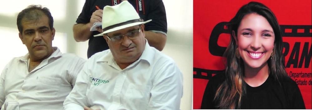 Gilmar Brunetto, de chapéu, e Daiane Renner, sindicalistas em confronto