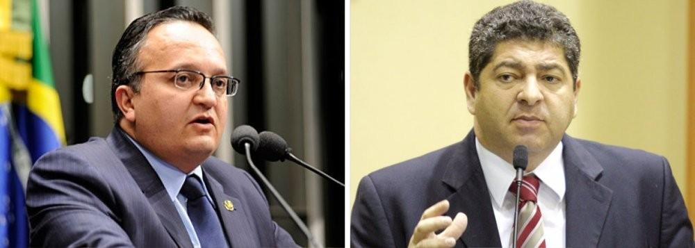 Zé Pedro Taques, governador do Estado, e Guilherme Maluf, presidente da Assembleia
