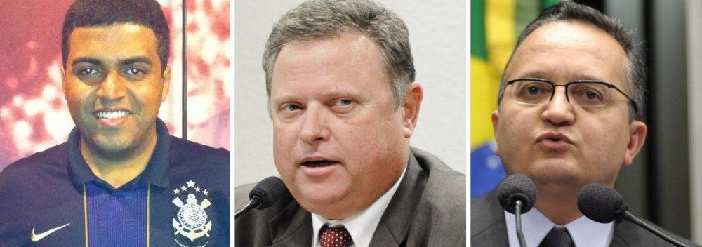 Rafael Costa, jornalista, Blairo Maggi, senador e Zé Pedro Taques, governador de Mato Grosso