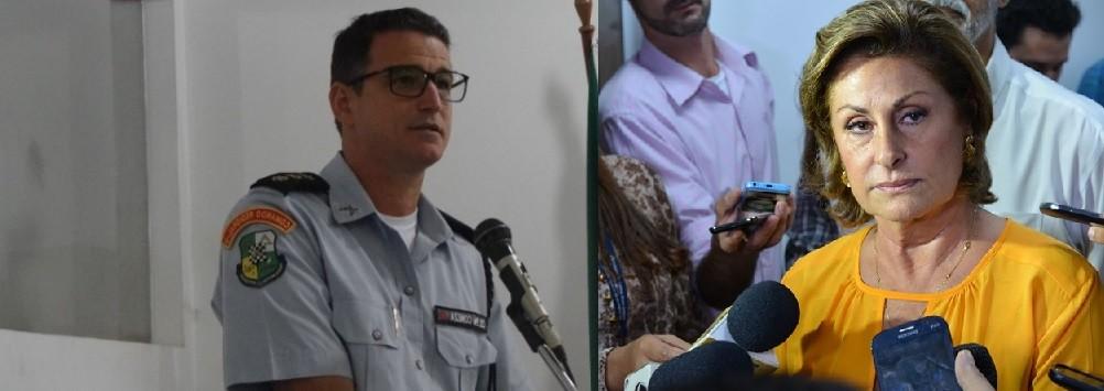 Sérgio Coneza, coronel, comandante regional da PM em Várzea Grande, e Lucimar Campos, prefeita do municipio