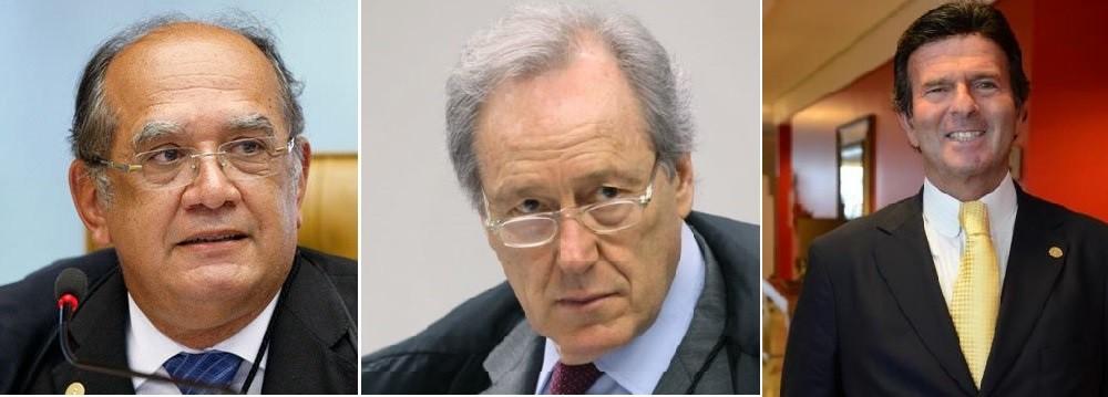 Gilmar Mendes, Ricardo Lewandowski e Luiz Fux, ministros do Supremo Tribunal Federal
