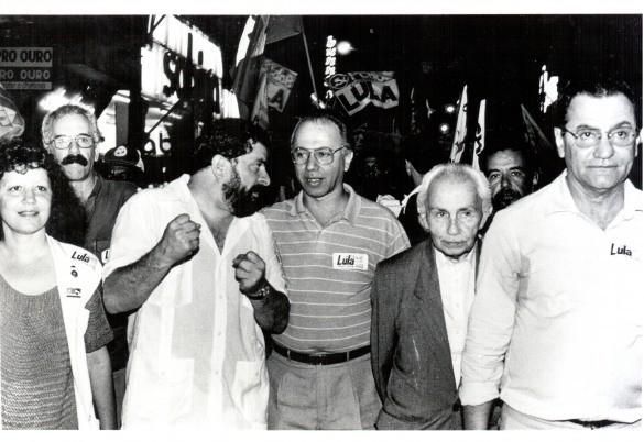Campanha da Frente Brasil Popular na Bahia. Péricles Souza, Lula, Haroldo Lima, João Amazonas e Bisol, 1989