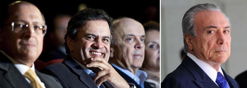 Alckmin, Aécio, Serra e Milton Temer: golpistas que tenta viabilizar afastamento, ao arrepio da Lei, da presidenta Dilma