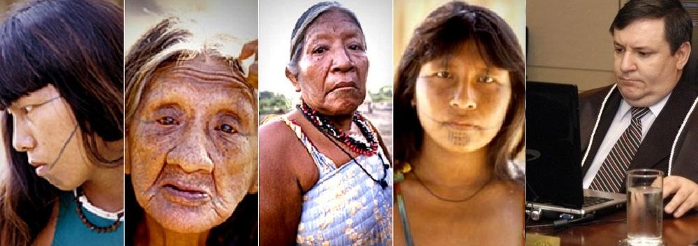 Mulheres índígenas da tribo Kaiabi, de Mato Grosso, e o juiz federal César Bearsi